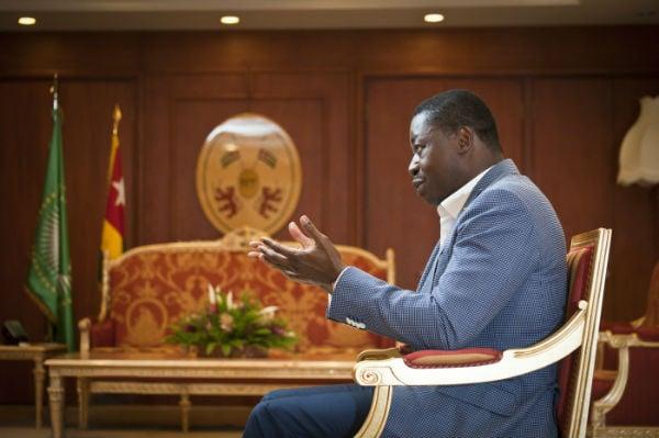 Faure Essozimna Gnassingbe (Togo), président de la République, lors d'une interview pour Jeune Afrique à Lomé, le 11 décembre 2017