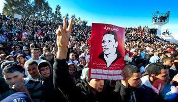 Une affiche à l'effigie de Mohamed Bouazizi, le 6 février à Sidi Bouzid.