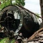 L'épave de l'appareil du président Juvénal Habyarimana, tué dans un attentat le 6 avril 1994.