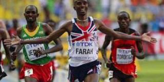 Le Britannique Mo Farah devient champion du monde du 10 000 m, le 10 août 2013 à Moscou.