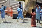 Centre d'isolation de patients atteints d'Ebola à l'hôpital Donka à Conakry le 14 avril 2014.