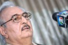 Khalifa Haftar, lors de sa conférence de presse à Benghazi, le 17 mai.