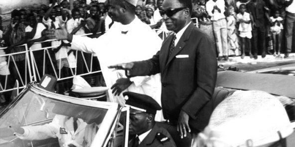 Ahmadou Ahidjo et Houphouët- Boigny, à Abidjan en 1967.