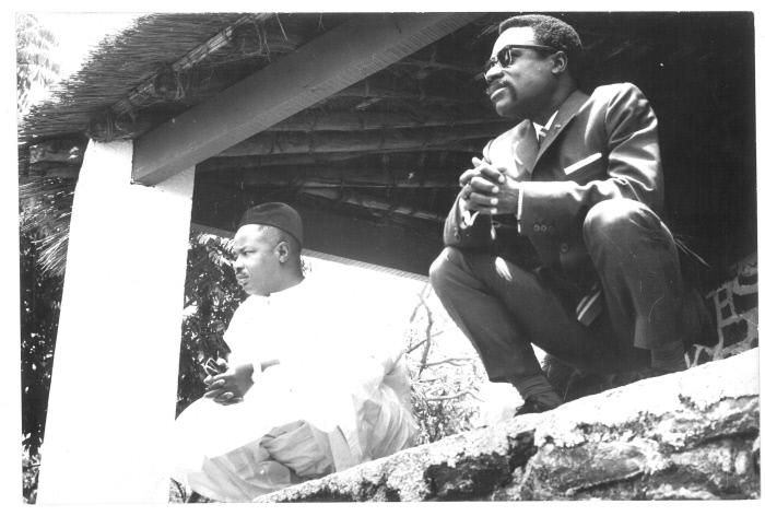 Albert Bernard Bongo et Ahmadou Ahidjo,23 mars 1968, Ngaoundéré,Cameroun..