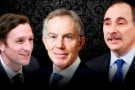 (De g. à dr.) Marcus Courage, Tony Blair et David Axelrod.