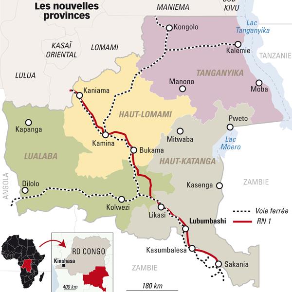 Carte de l'ancien Katanga.