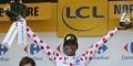 L'Érythréen Daniel Teklehaimanot a revêtu le maillot à pois jeudi 9 juillet 2015 au Havre, en France.