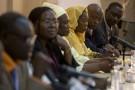 Victimes et avocats du procès Habré, lors d'une conférence de presse à Dakar, le 17 juillet 2013.