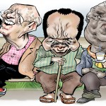 De gauche à droite : Robert Mugabe, Béji Caïd Essebsi, Paul Biya, Manuel Pinto da Costa et Abdelaziz Bouteflika forment le club des dirigeants les plus âgés du continent.