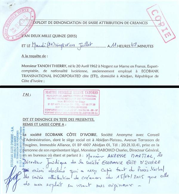 Fac-sSaisie des actifs d'Ecobank Côte d'Ivoire
