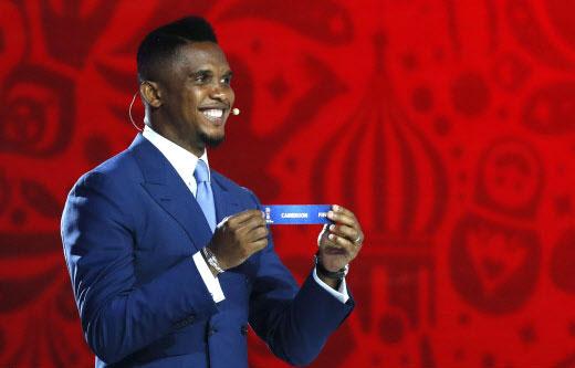 Samuel Eto'o, lors du tirage au sort des éliminatoires de la Coupe du monde 2018.