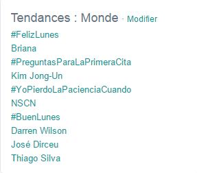 Trending topics sur Twitter, le 3 juillet 2015 à 16 heures 30.