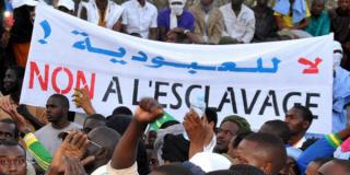 Manifestation des descendants d'esclaves maures à Nouakchott, le 29 avril 2015.