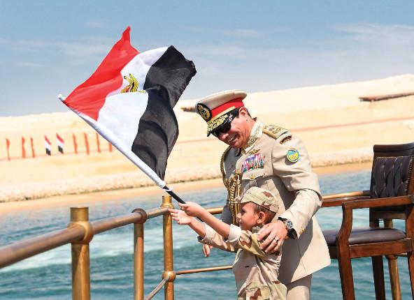 Le président Abdel Fattah al-Sissi, lors de l'inauguration de l'élargissement du canal de Suez, le 6 août.