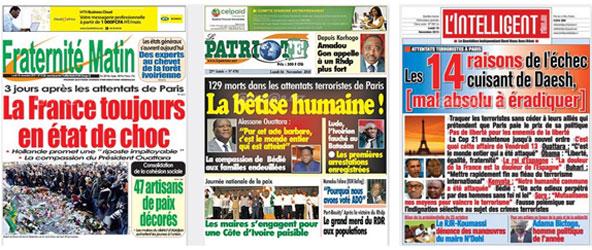 Titres de la presse ivoirienne le 16 novembre.