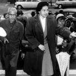 Rosa Parks, lors de son procès, en 1955.