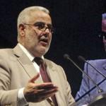 Le chef du gouvernement marocain Abdelilah Benkirane lors d'un meeting du Parti justice et développement (PJD) le 14 juillet 2012 à Rabat.