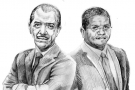 Au premier tour, James Michel (à g.), le chef de l'État, a obtenu 47,76 % des suffrages et Wavel Ramkalawan 33,93 %.
