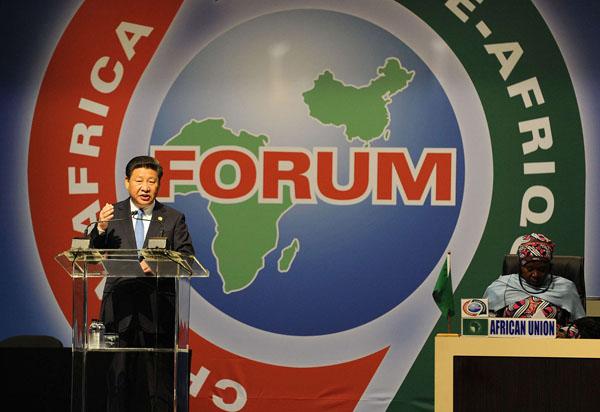 Le président chinois Xi Jinping durant son discours au sommet Chine-Afrique, à Johannesburg, le 4 décembre 2015.