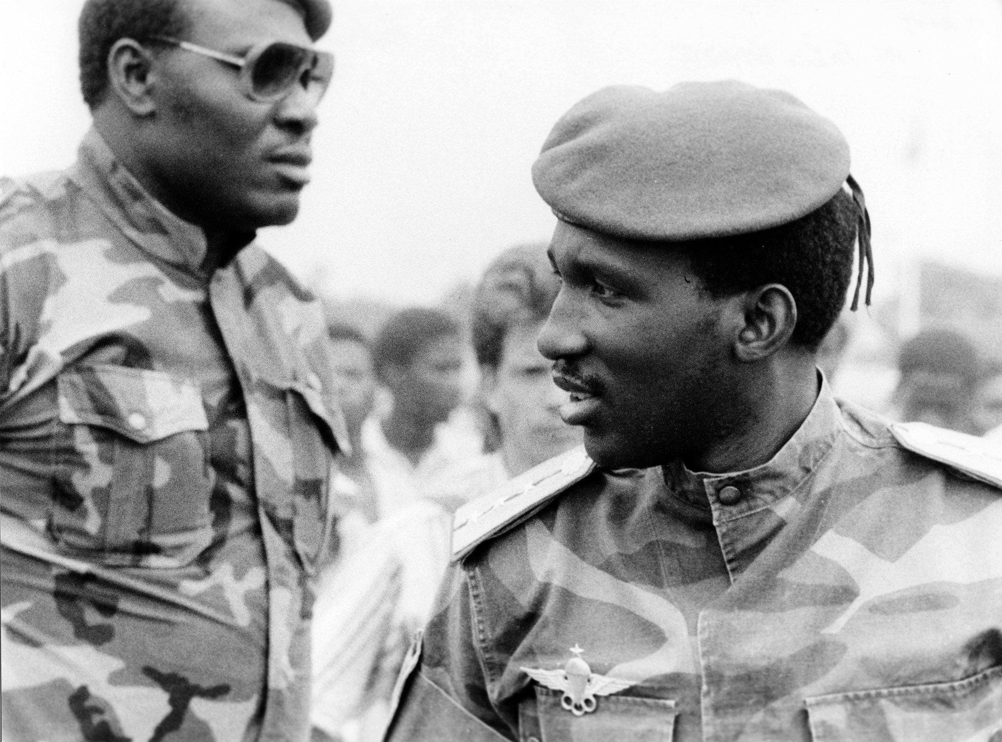 Thomas Sankara, président du Conseil national de la révolution (CNR), en mars 1986 à Bobo-Dioulasso.