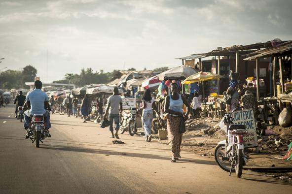 Dans les rues de Bouaké, le 12 octobre 2015.
