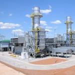 Vue d'une centrale électrique alimentée au gaz au Botswana.