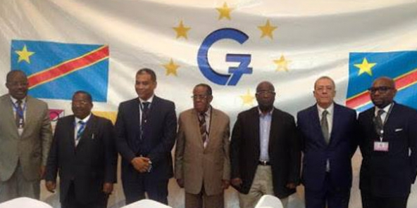 "Les sept leaders du ""G7"", le 10 octobre 2015 à Kinshasa."