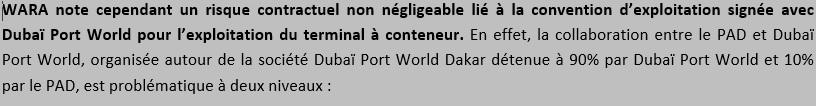 Tiré du rapport sur la notation du Port de Dakar.