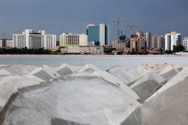 Le chantier d'Ekko Atlantic City, actuellement le plus grand projet de construction en Afrique, sur Victoria Island, Lagos, Nigéria, le 19 mai 2014.