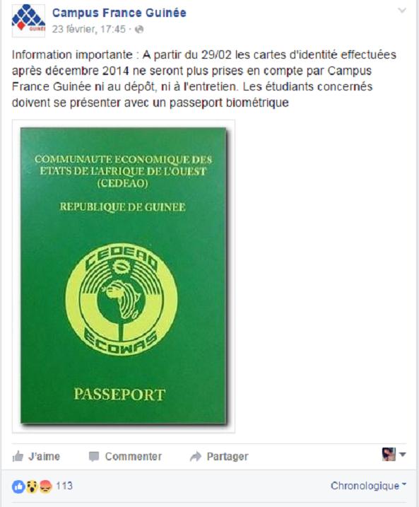 Capture d'écran / Page Facebook Campus France Guinée