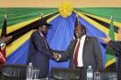 En janvier 2015, Salva Kiir, le président du Soudan du Sud (indépendant depuis 2011), et son rival Riek Machar.