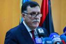 Le chef du gouvernement d'union nationale, Fayez al-Sarraj, lors d'une conférence de presse à son arrivée le 30 mars 2016.