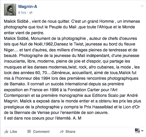 Post de l'agence Magnin-A? le 15 avril 2016.