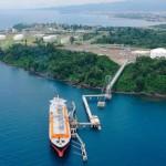 Vue aérienne du train GNL alimentant l'unité de liquéfaction de la Ecuatorial Guinea-Licuado Natural Gas, à punta Europa.