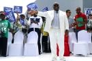 Le président sortant face à ses partisans, le 9juillet à Libreville.