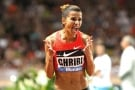 Tunisia's Habiba Ghribi reacts as she wins the women's 3000m steeplechase  race  at the Herculis International Athletics Meeting, at the Louis II Stadium in Monaco, Friday, July 17, 2015. (AP Photo/Claude Paris)/MCO133/283417187983/1507172326