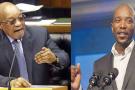 Le président sud-africain Jacob Zuma et le leader de la DA, Mmusi Maimane.
