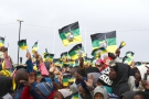 Partisans de l'ANC à Port Elizabeth,  le 23juillet. Selon les sondages, la ville pourrait passer  à l'opposition lors du prochain scrutin.