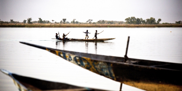 Titre : Mali, festival sur le Niger, fete, tradition, culture    redacteur : tim dirven    Copyright : ©Tim DIRVEN/PANOS-REA    Date de reportage : 05/02/2015    Légende : A boy dances as he travels near the site of the Festival sur le Niger on a pirogue.     africa festivals boats children rivers    Pays : MALI    Ville : Segou    @Identifiant unique : 5466848A boy dances as he travels near the site of the Festival sur le Niger on a pirogue.  africa festivals boats children rivers