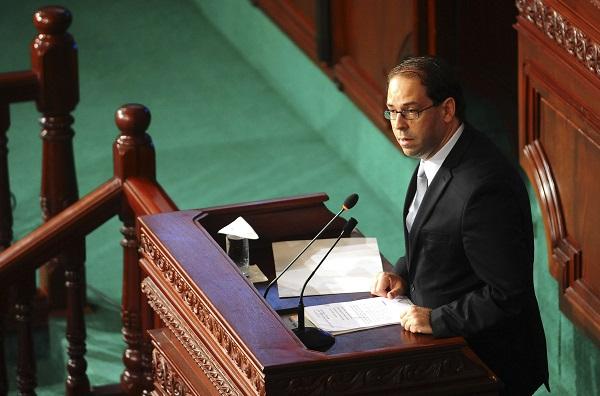Le Premier ministre, Youssef Chahed, tient un discours au Parlement le 26 août 2016.