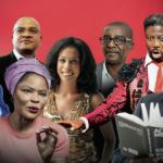 De g. à dr., Alain Foka, Pierre N'Gahane, Calixthe Beyala, Elizabeth Tchoungui, Fred Eboko, Jacques-Greg Belobo et Achille Mbembe.