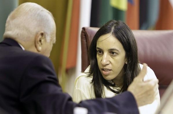 Mbarka Bouaida lors d'une réunion des ministres des Affaires étrangères de la Ligue arabe, en juillet 2014.