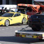 Deux des 11 véhicules appartenant à Teodorín Obiang saisis par la justice suisse, dans la zone de fret de l'aéroport de Genève, jeudi 3 novembre 2016.