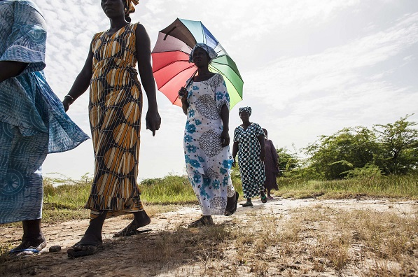 Des habitantes du Delta du Saloum, une localité sénégalaise très menacée par le réchauffement climatique, le 19 octobre 2015.