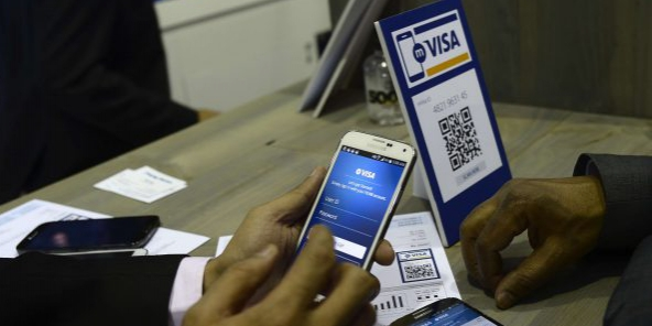 La solution de paiement mobile de Visa, ici lors du Mobile World Congress à Barcelone le 4 mars 2015.
