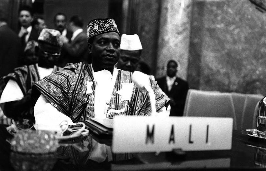 Le président malien Modibo Keïta, ici à Addis-Abeba en Éthiopie, le 25 mai 1963 lors de la création de l'OUA.