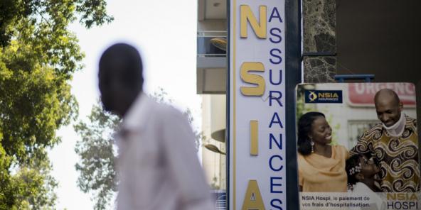Enseigne de la compagnie d'assurances NSIA, dans le centre de Dakar, le 3 février 2014.
