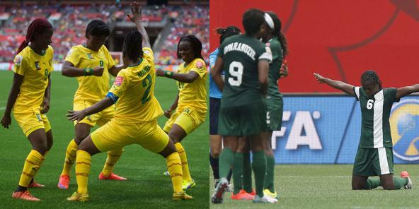 Les équipes de football féminin du Cameroun et du Nigeria, lors de la Coupe du monde 2015 au Canada.