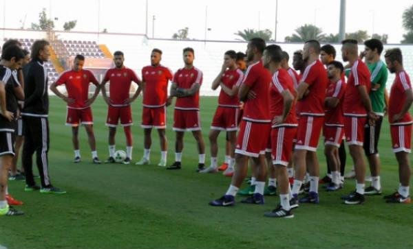 Les Lions de l'Atlas dirigés par Hervé Renard, en stage de préparation pour la CAN, aux Émirats arabes unis, début janvier 2017.