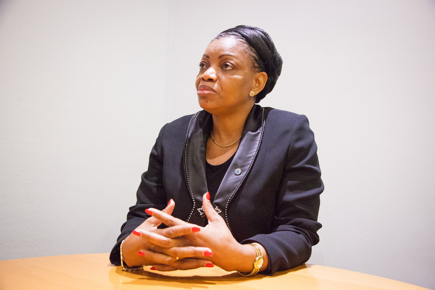 Ève Bazaiba, secrétaire générale du Mouvement de libération du Congo (MLC), le 24 avril 2015 à Paris.